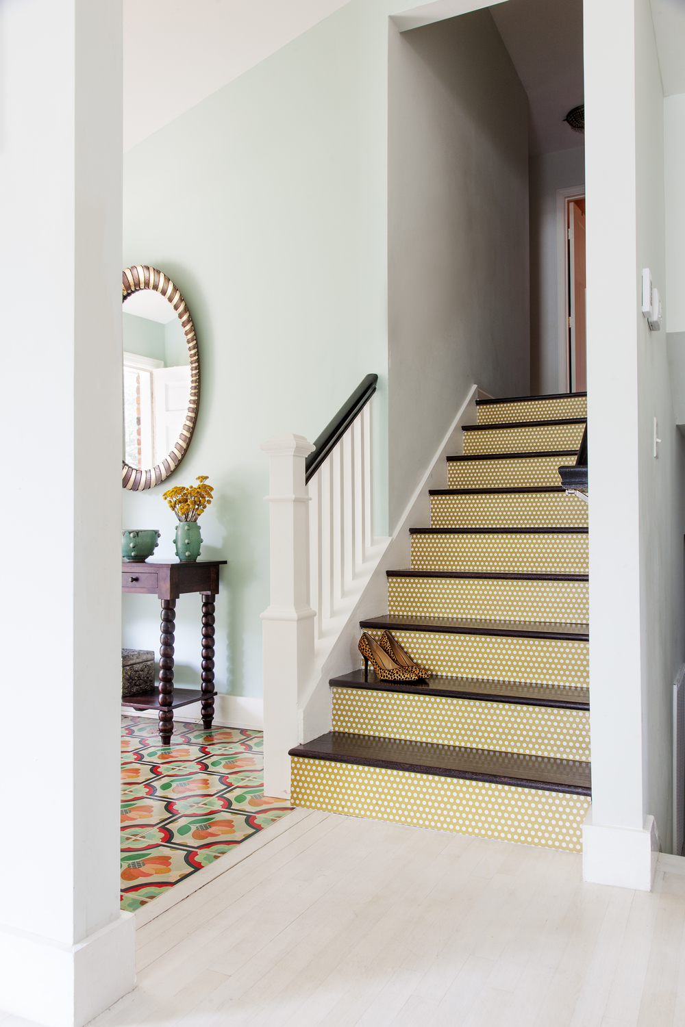 Colorful Mustard Yellow Polka Dot Patterned Stair Risers