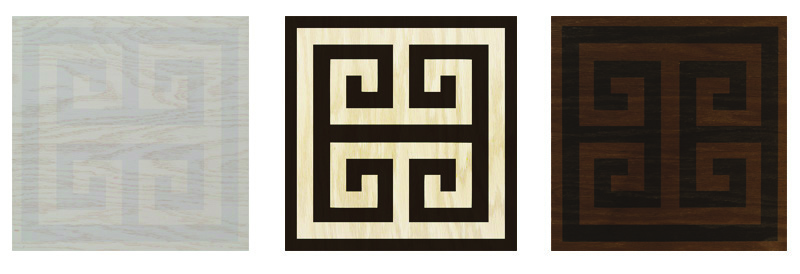 TG- Greek Key - It's been around for thousands of years but we never grow tired of it. Seen throughout history on every surface imaginable, we are so excited to use it for the first time on wood floor tiles…the ultimate style statement! $18.25 3 Color ways available - Grey and Platinum - Ebony and Cream - Raven and Ebony