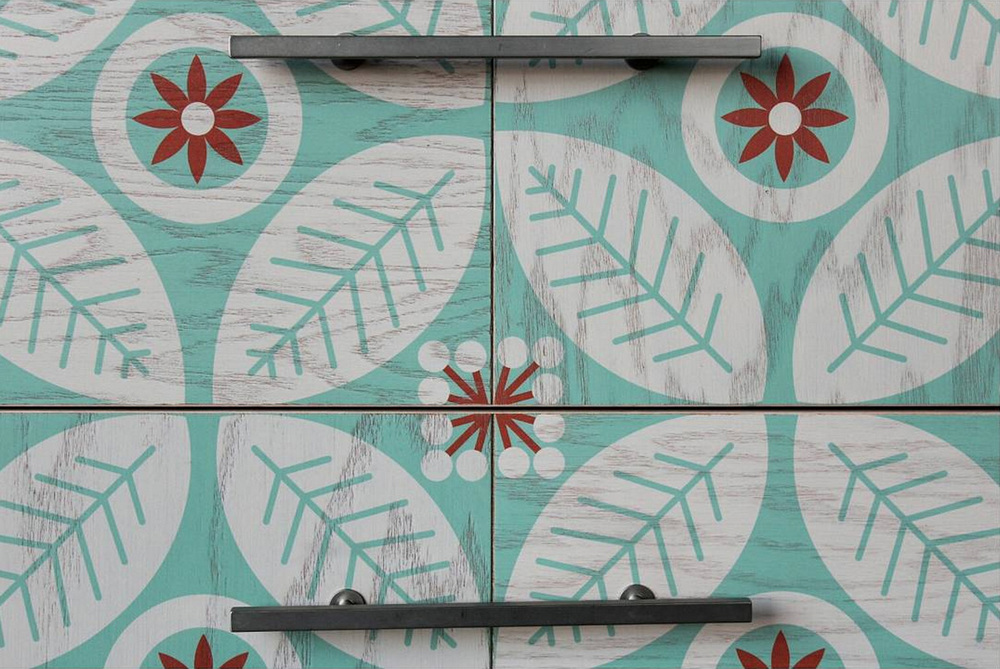 Elizabeth Olwen's FlowerFolk Pattern on Wood Tile Vanity collaboration with Semihandmade