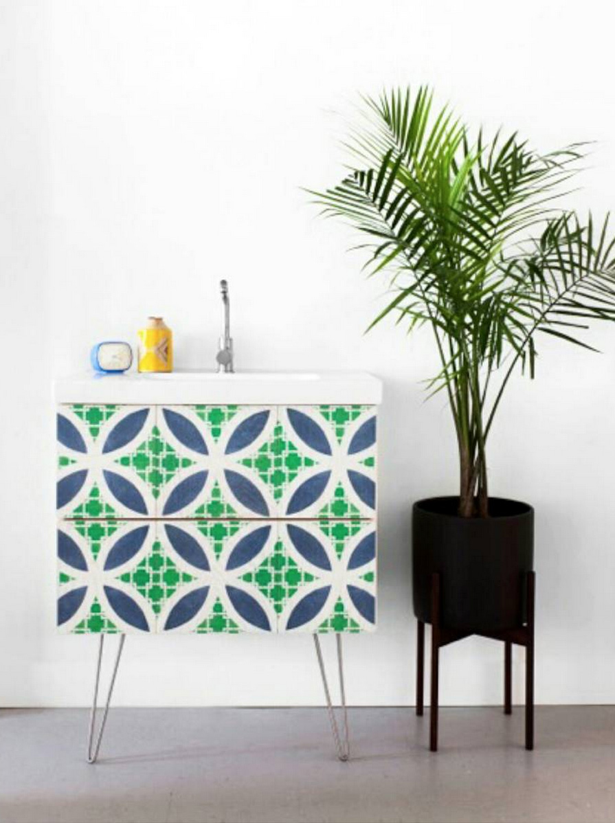 Hollywood Patterned Wood Tile Vanity collaboration with Semihandmade