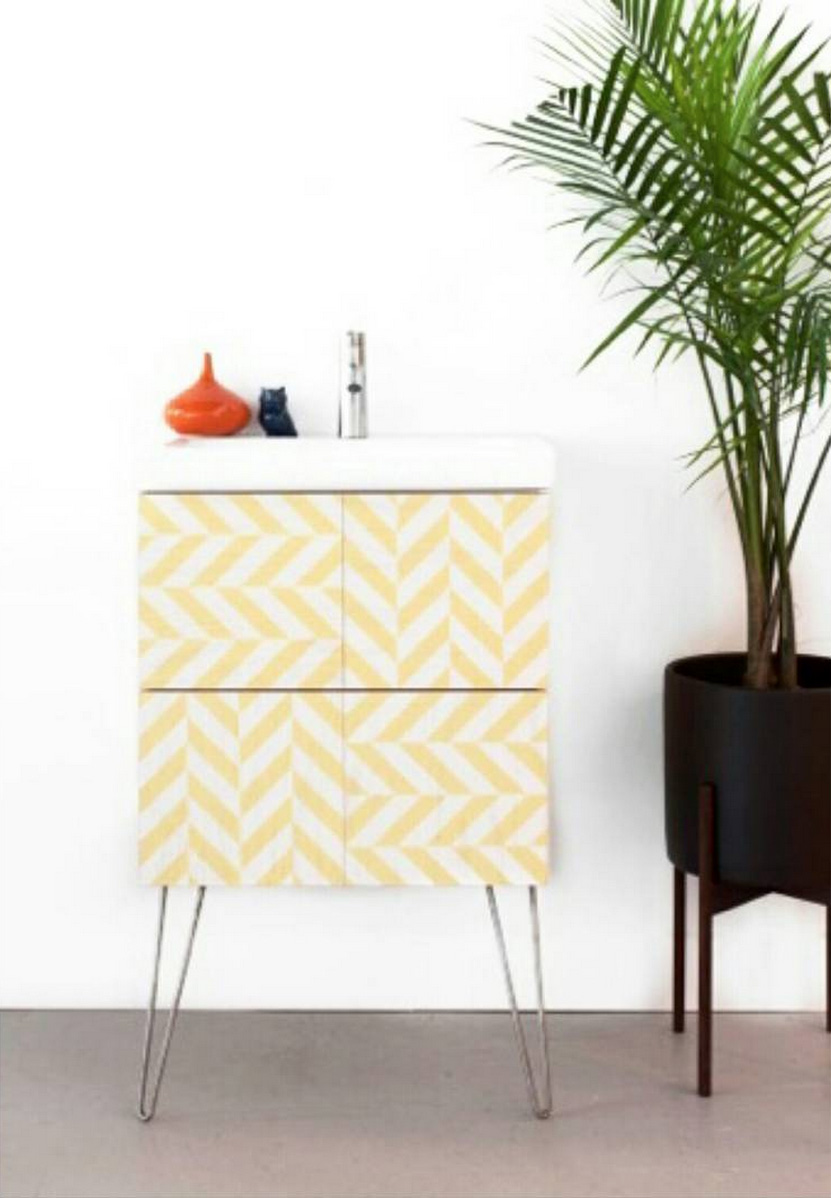 Our Yellow and White Zippy Patterned Wood Tile Vanity collaboration with Semihandmade