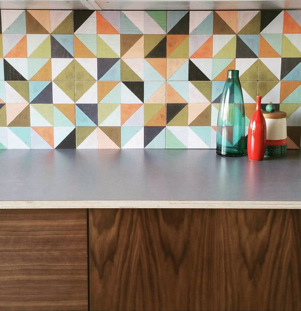 Our colorful Flirt Pattern in 12x12 Wood Tiles as Backsplash