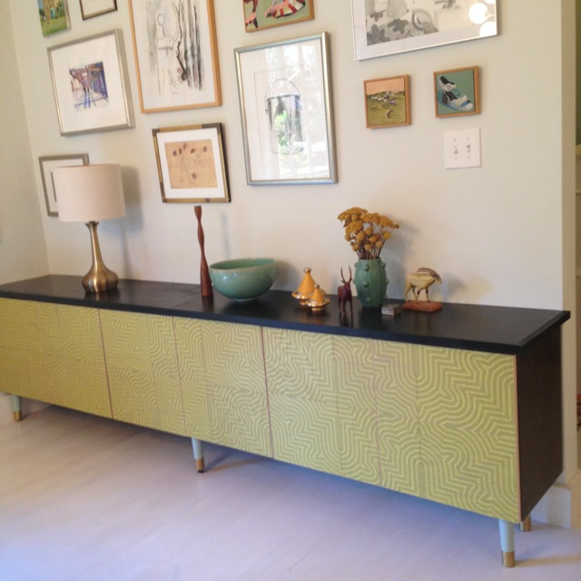 Detroit Wallpaper's Goldrush Patterned Wood Tile Credenza collaboration with Semihandmade