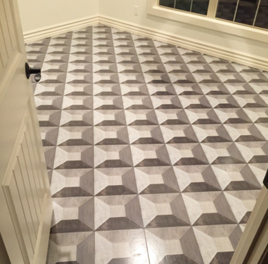Illusion hardwood floor tile pattern in 12x12