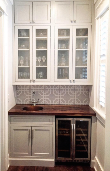 Our Platinum and White Macau Pattern in 12x12 Wood Tiles as Backsplash
