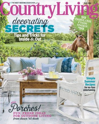 Sweet Celia patterned wooden tile featured on the cover of Country Living June 2016