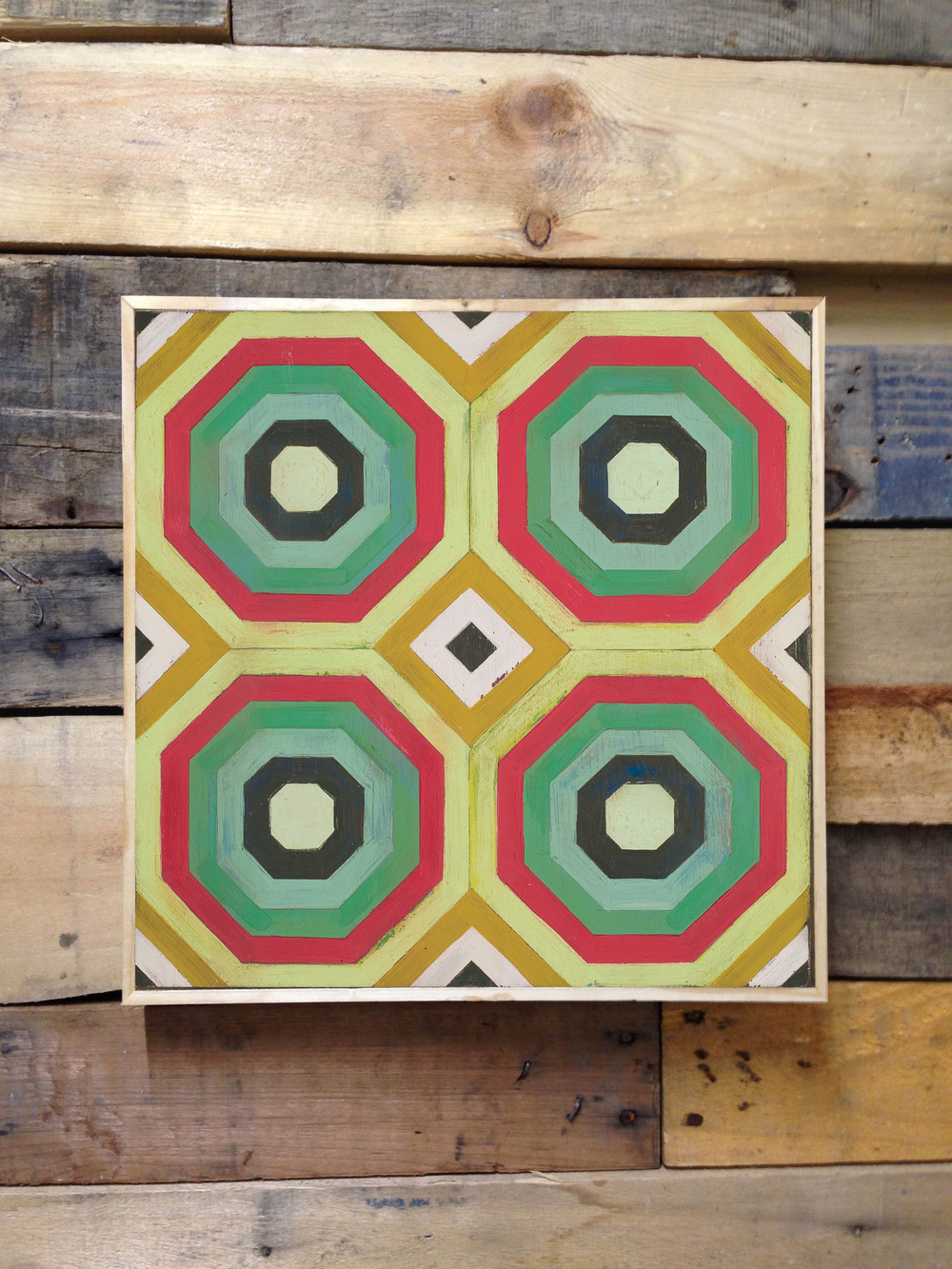 Hex patterned hardwood floor tile in 12x12 as framed repeated design