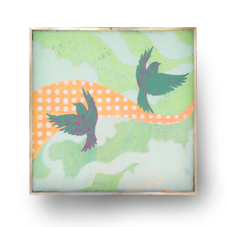 """Birdies"" 12.5"" x 12.5"" x 1.5"" on wood/framed, $75.00"