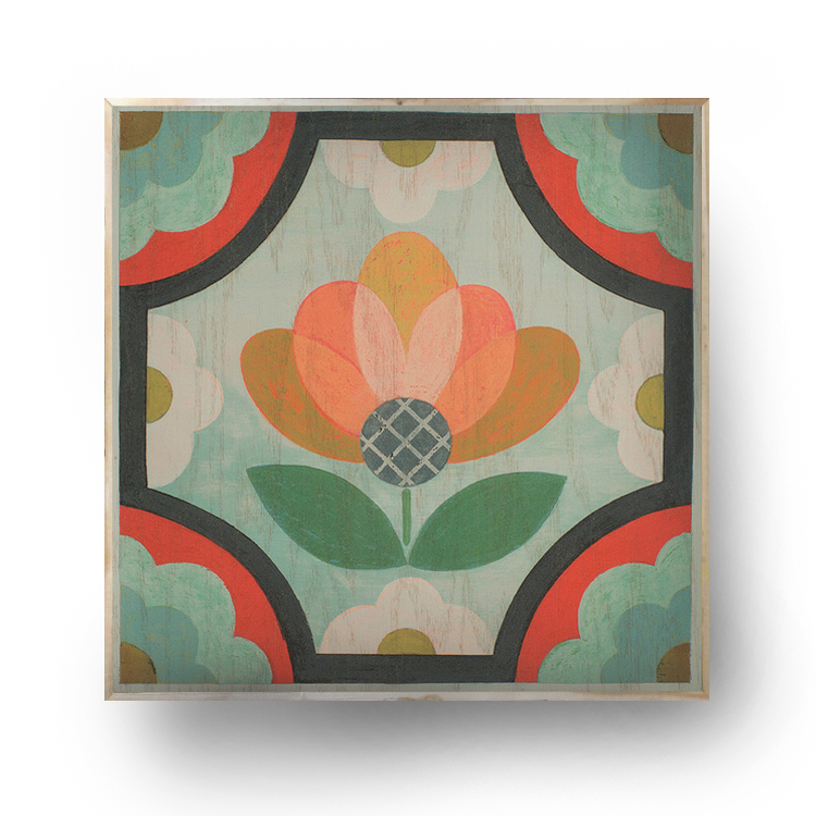 """Blossom"" 12.5"" x 12.5"" x 1.5"" on wood/framed,   $75.00"
