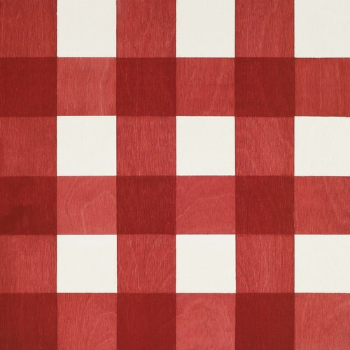 Red Gingham wood tile