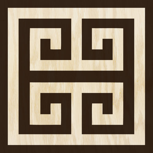 Ebony and Cream Greek Key wood tile #MirthStudio
