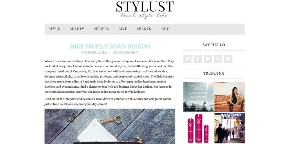 A new Sewn Designs Q&A has been posted on  Stylust  Magazine! Also check out our  Instagram  to enter our giveaway!