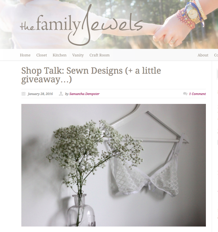 Another article for Mom's! The Fam Jewels did a sweet blog  post  on Sewn and we're giving away a Wanderlust Bralette!