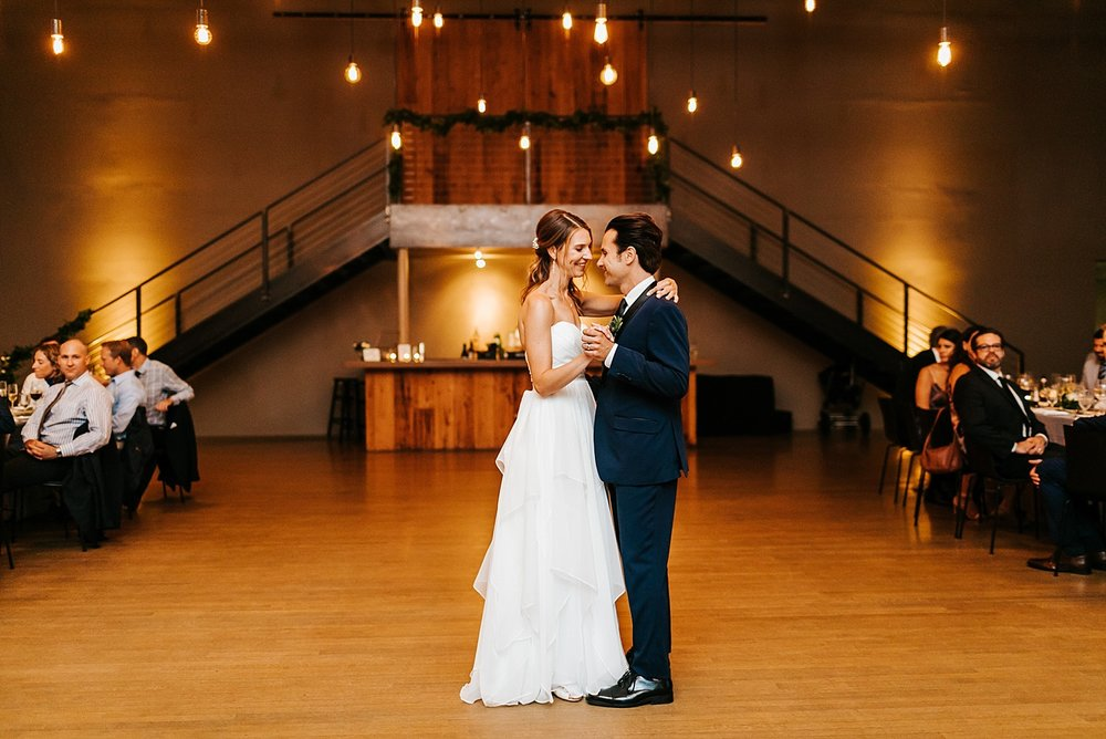 Bride and groom first dance at the roundhouse