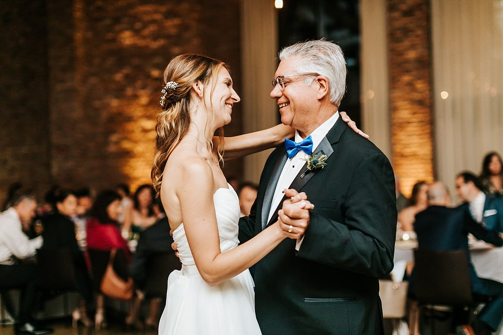 Bride and father of the bride dance at the roundhouse