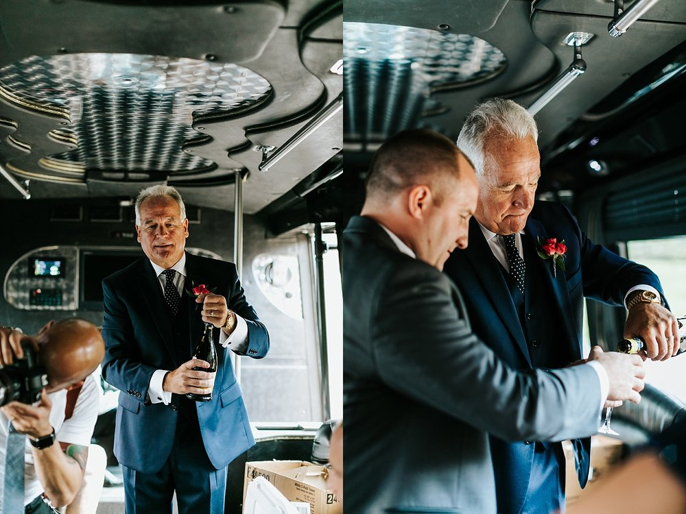 Wedding party in a limousine