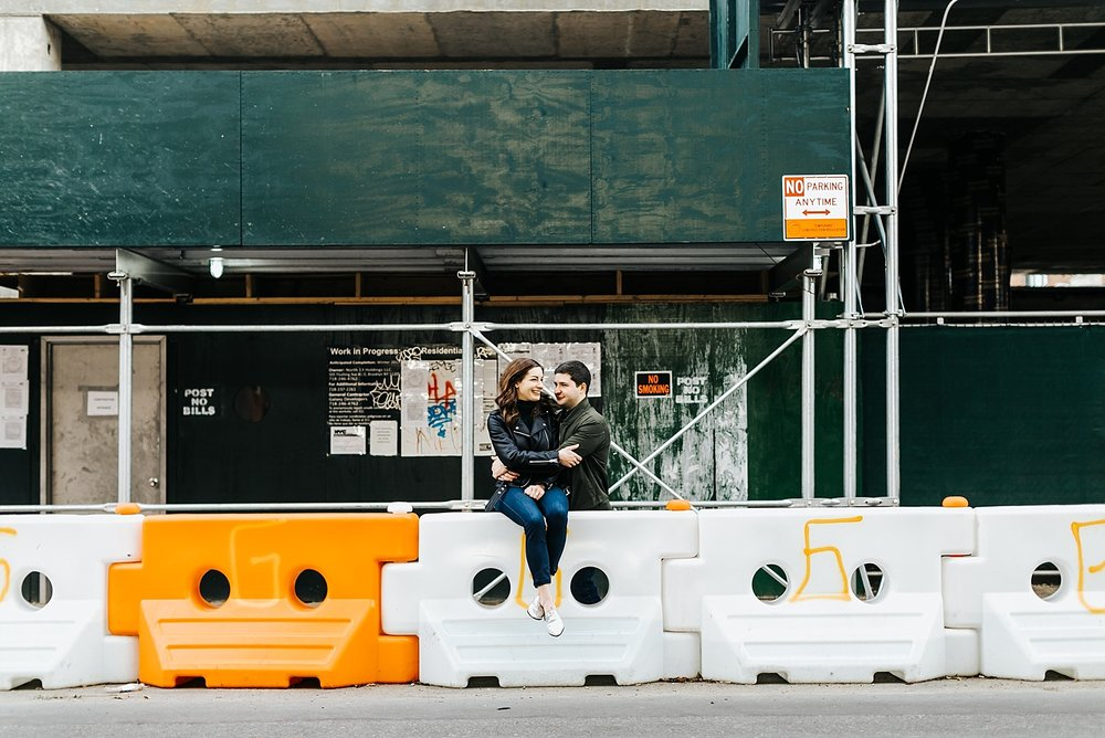 Winter engagement session at williamsburg, brooklyn