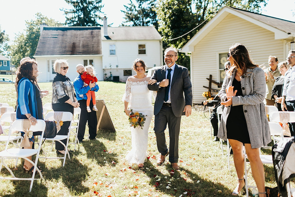 Fall backyard wedding ceremony in pennsylvania by danfredo photos + films