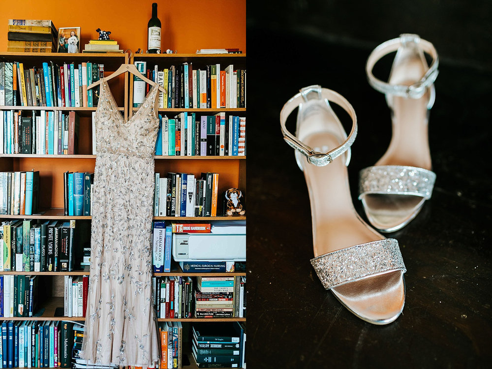 Bride's dress and shoes