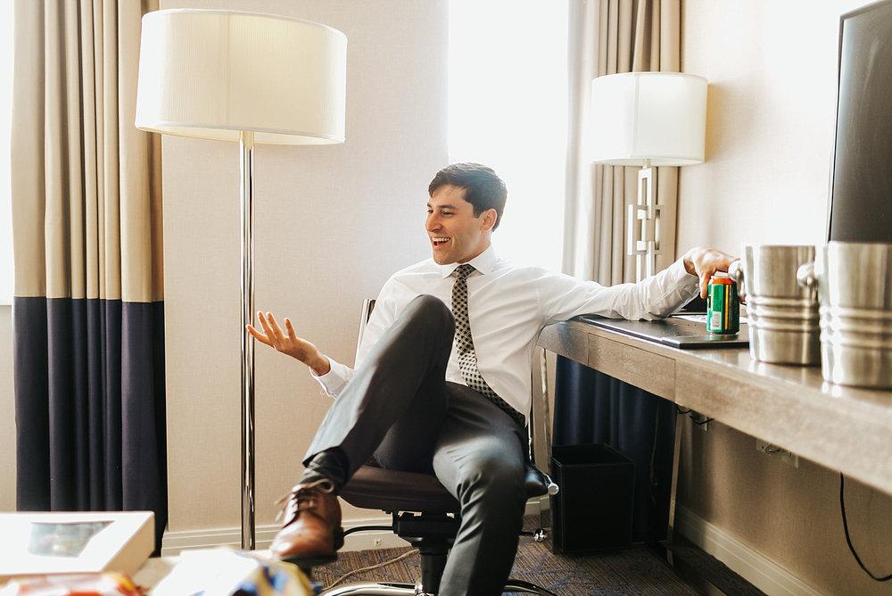 Groom prep at hotel palomar