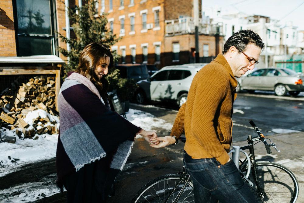 Winter couple session at kensington, philadelphia