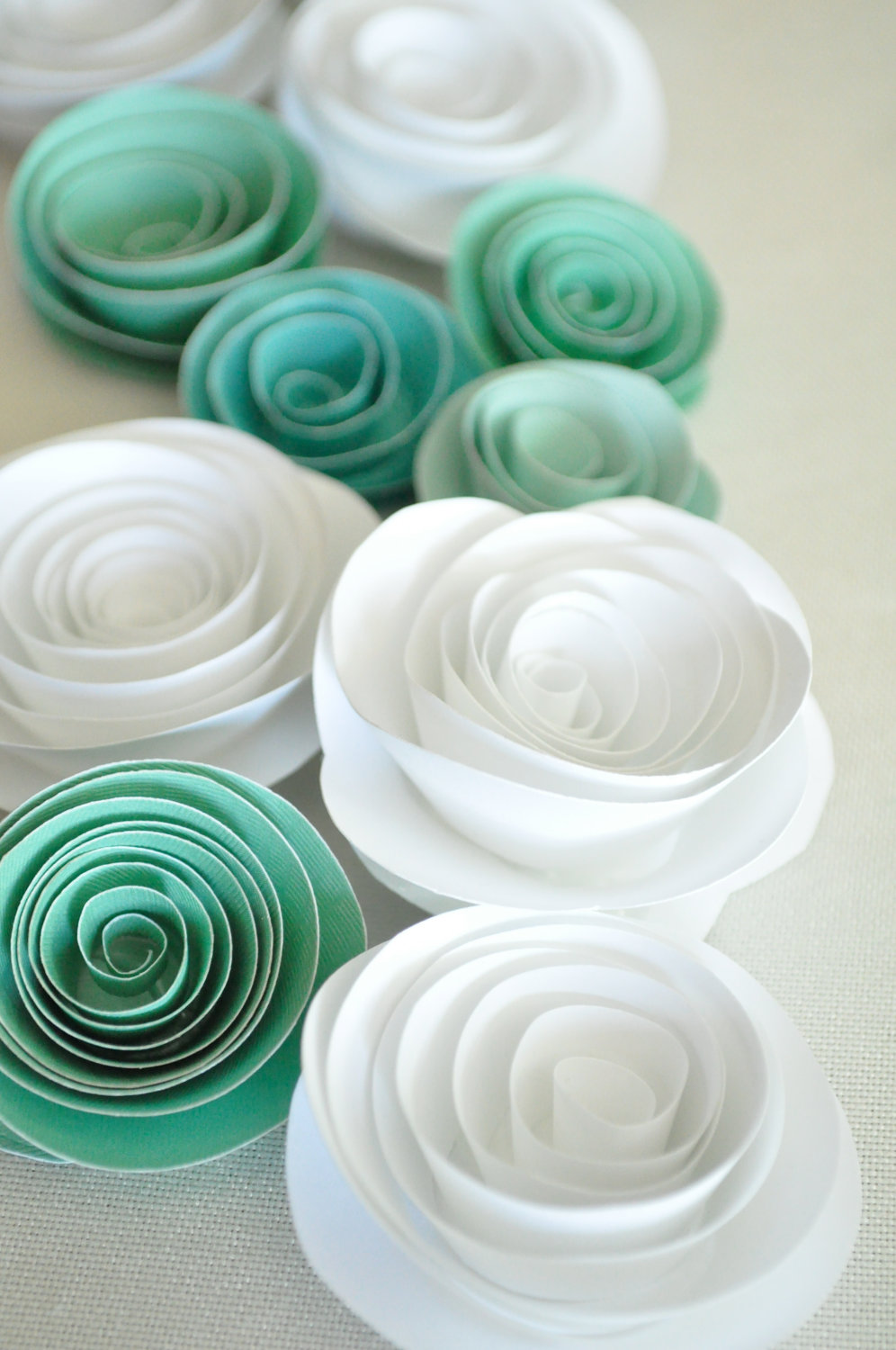 Paper flowers teal and white paper flowers wedding table paper flowers teal and white paper flowers wedding table decorations 25 flowers lille syster dhlflorist Choice Image