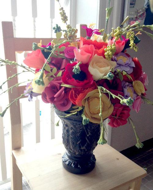 Paper Flower Centerpiece Wedding Flowers Arrangement