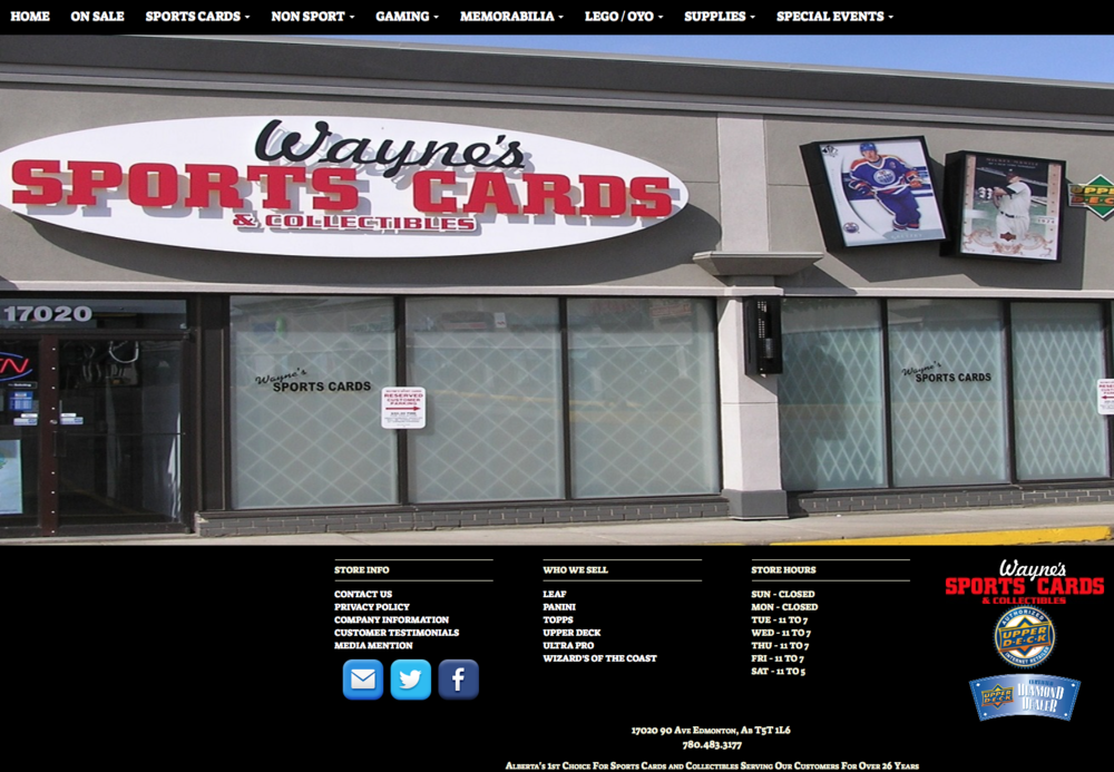 Wayne's Sportscards new website. Also a beneficiary of the program.