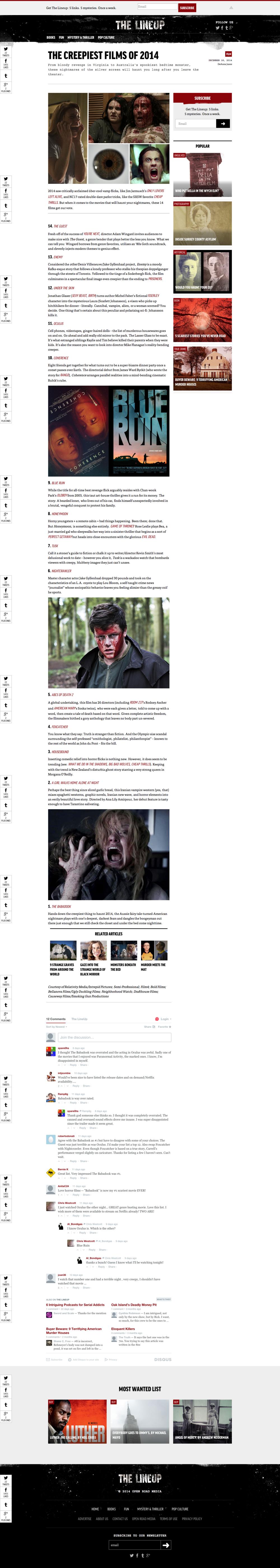 creepiest films 2014