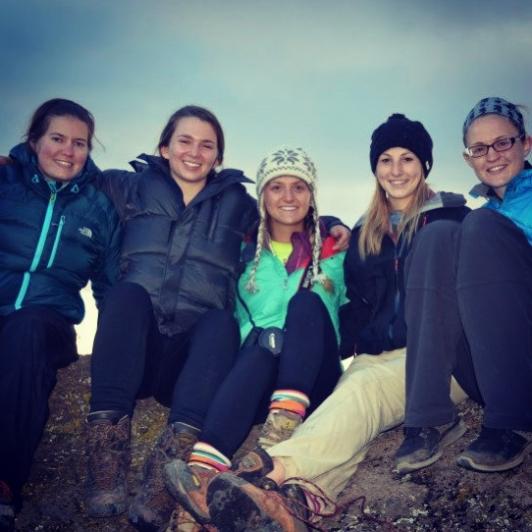 Kilimanjaro climbers Ashley, Jaime, Mariele, Olivia and Grace at Karanga Camp.