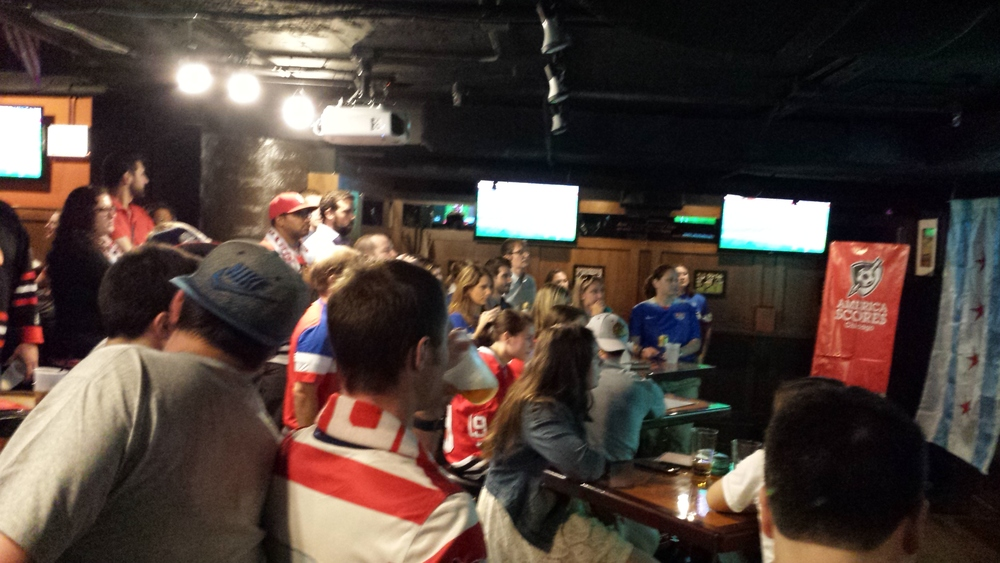 A quick snapshot of the US Women view party. Lots of USA on display!