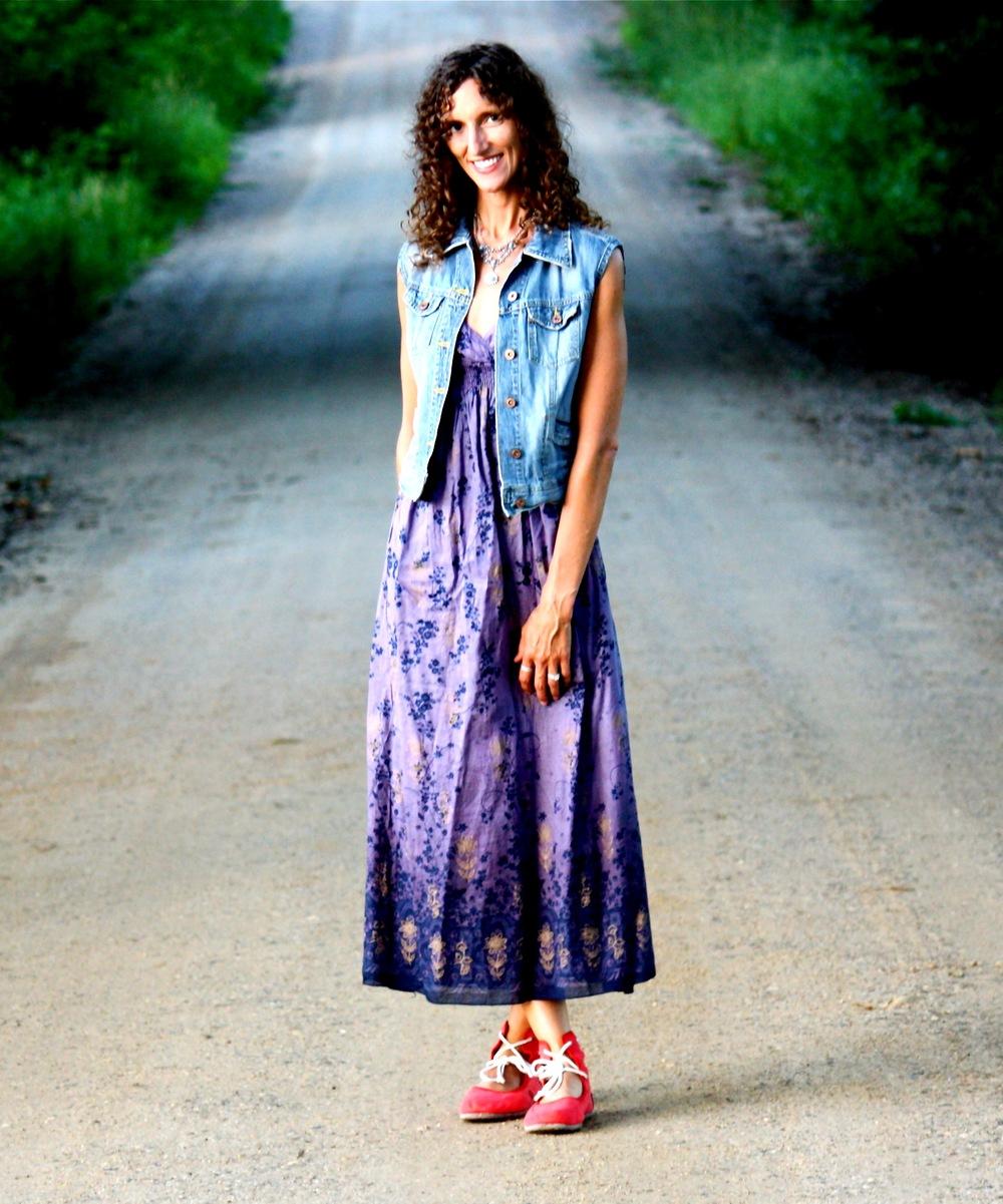 Dress: Goodwill $4.99 Jean vest: Goodwill $1.99 Shoes: Merrell $15.00