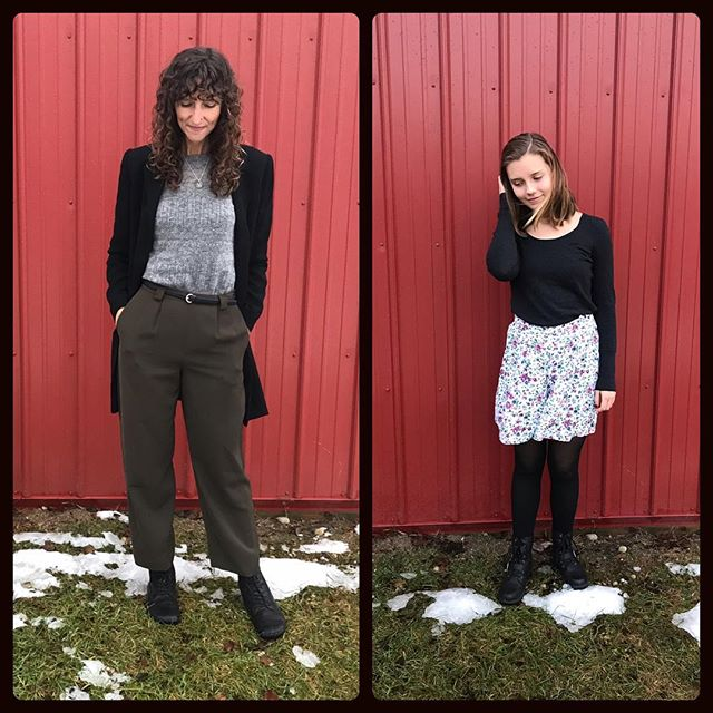 Mother/Daughter #ootd On me: thrifted pleated pants, thrifted sweater, thrifted blazer. The pants and blazer are both Casual Corner. Remember Casual Corner?! On Liza: thrifted pleated vintage shorts and thrifted sweater.