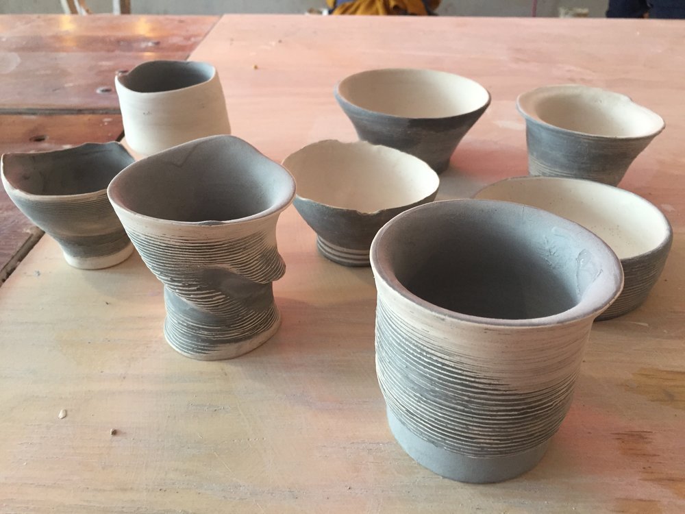 This new collection of work which is a combination of Series No.2 and its inverse, should be out of the kiln by midweek. Party on.  - sarah