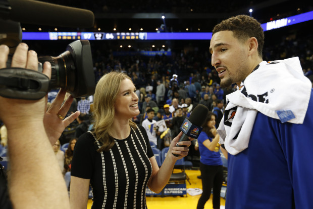 NBC Sports Bay Area sideline reporter Kerith Burke interviews Golden State Warriors' guard Klay Thompson after Wednesday's game.