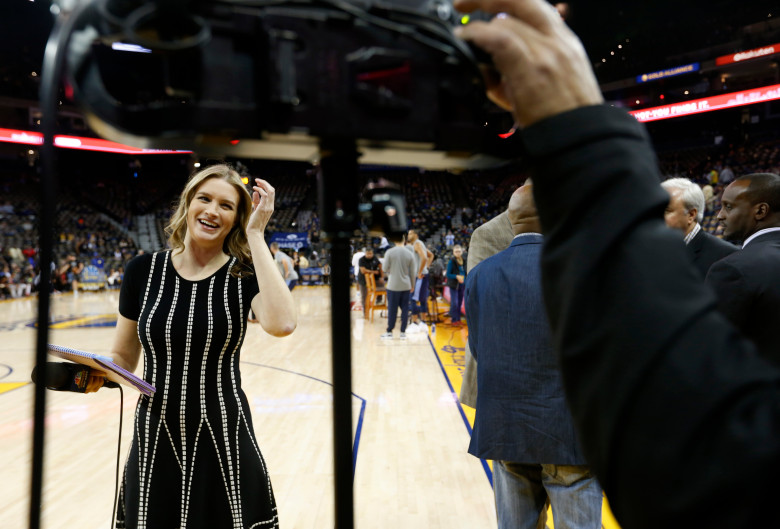 NBC Sports Bay Area sideline reporter Kerith Burke prepares to do a live standup before the Golden State Warriors NBA game against the Memphis Grizzlies at Oracle Arena in Oakland, Calif., on Wednesday, Dec. 20, 2017. Burke replaced Rosalyn Gold-Onwude, the former Stanford basketball standout who left NBC to accept a full-time NBA position with Turner Sports. (Jane Tyska/Bay Area News Group)