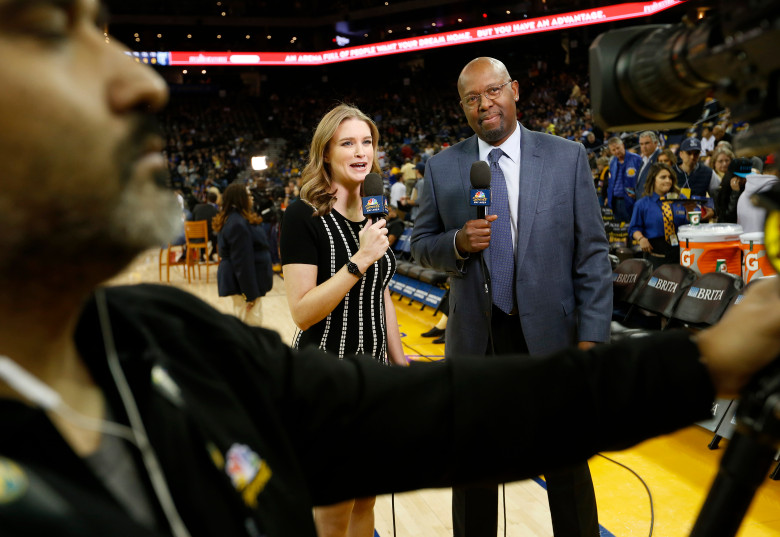 NBC Sports Bay Area sideline reporter Kerith Burke does a stand up with NBC's Monte Poole before the Golden State Warriors NBA game against the Memphis Grizzlies at Oracle Arena in Oakland, Calif., on Wednesday, Dec. 20, 2017. Burke replaced Rosalyn Gold-Onwude, the former Stanford basketball standout who left NBC to accept a full-time NBA position with Turner Sports. (Jane Tyska/Bay Area News Group)