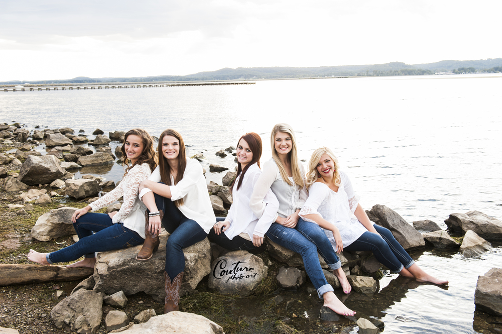 "Besides Myranda, who knows all of these girls, no one else really knew each other.  This was the second ""look"" we did, and as you can see, the girls are already comfortable and getting along great.  This photo was taken with 100% natural light on the gorgeous Lake Guntersville."