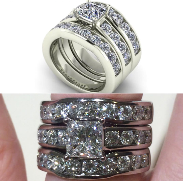 Custom Diamond remount & matching wedding bands
