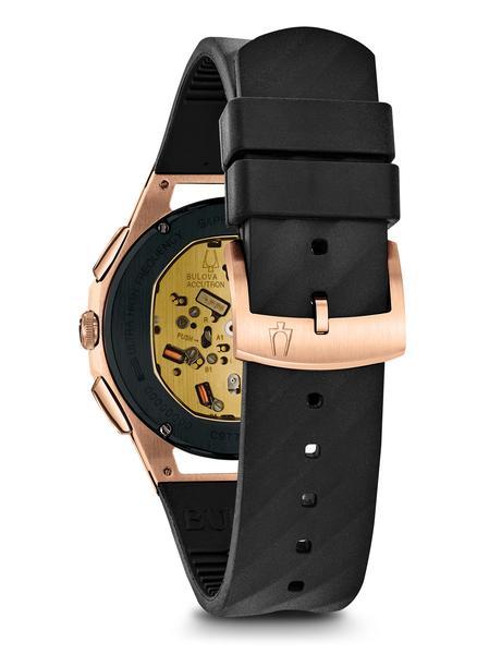 c4e95b195 Bulova CURV Chronograph watch Howie's Jeweler rose black exhibition
