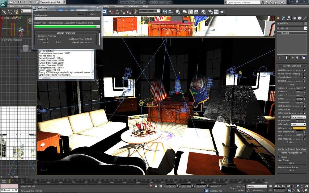 Oval Office Scene in 3dsMax