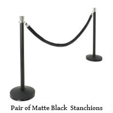 Matte black stanchions with tulip top text.jpg