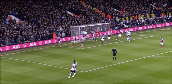 Both of these examples – as well as the goal against Stoke City (all coincidentally at the Park Lane end of White Hart Lane) – show how Dier or Alderweireld are able to beat their men to the ball and nod home.