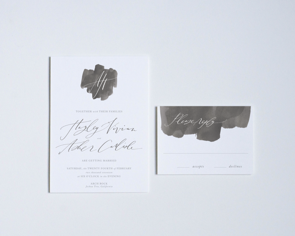 CHARCOAL WASH INVITATION + REPLY