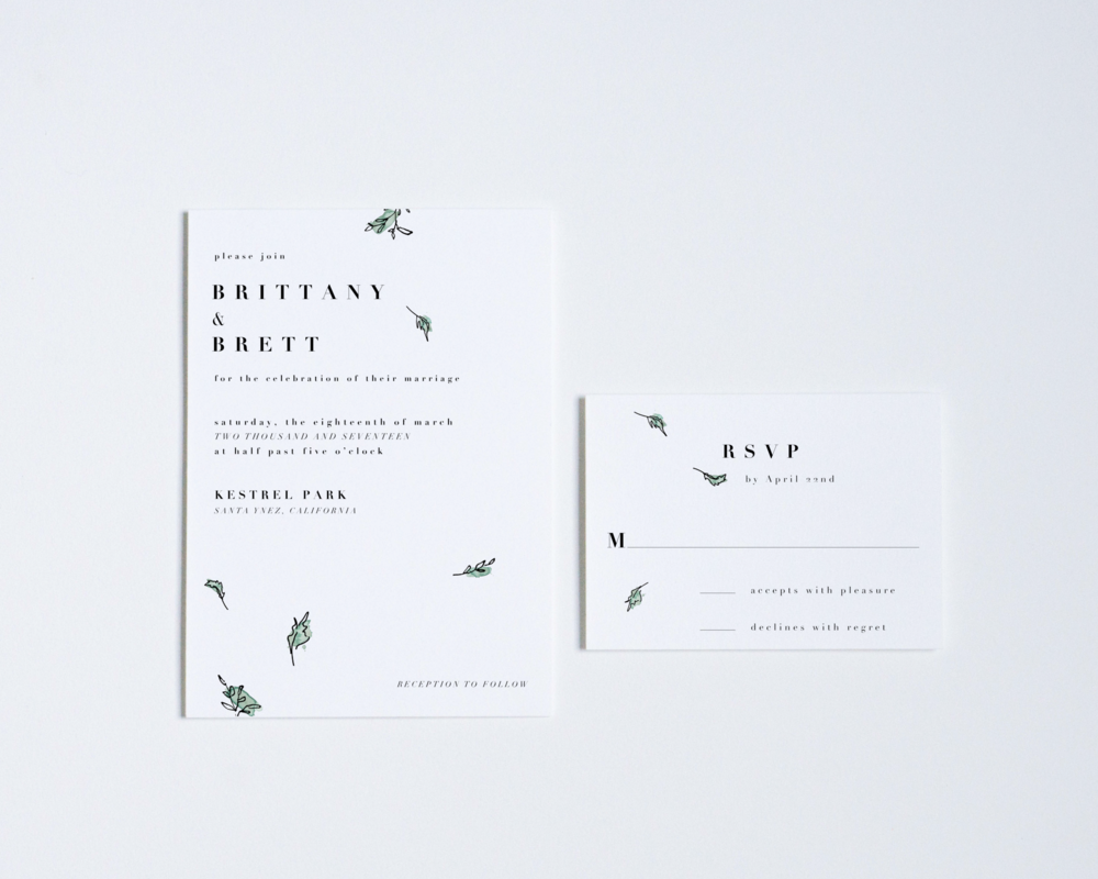GREEN LEAVES INVITATION + REPLY