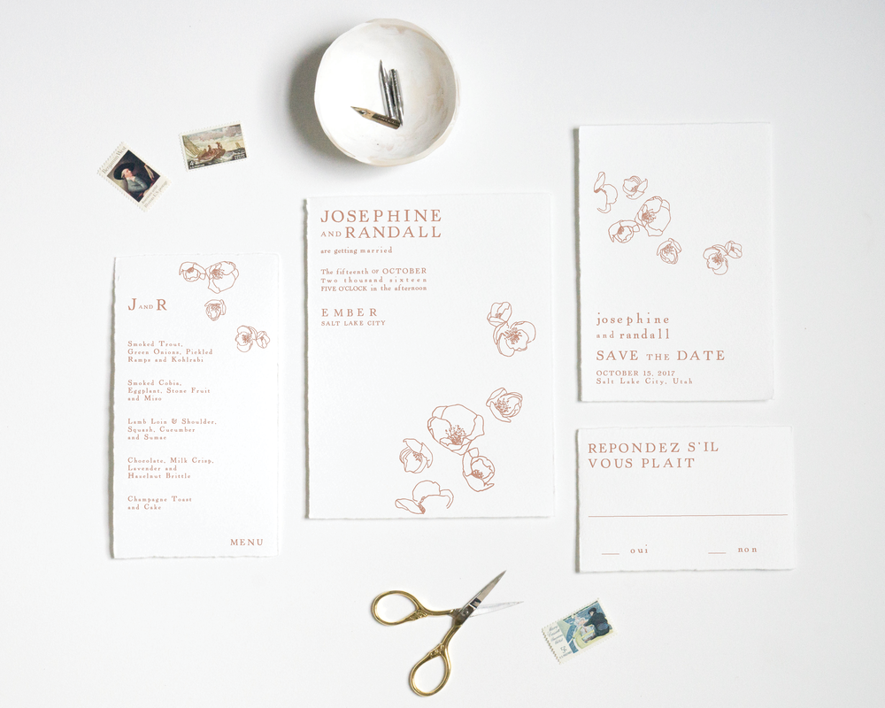 ANTIQUE QUINCE INVITATION SUITE
