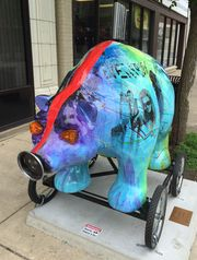 "And here's ""Everybody Rides,"" Steve Vaughan's piece for ""Lions and Tigers and Bears, Oh My!"" after its nose and other pieces were torn off over the weekend. (Photo: Dave Bangert/Journal & Courier)"