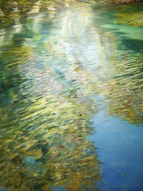 Lake Griffy Reflections, Dawn Adams, oil on canvas Indiana Now 2016: The Bicentennial
