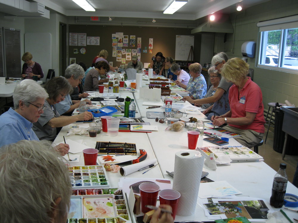 Watercolor Marathon at the Art Museum - class members of all the watercolor classes work on cards to be used as favors at a fundraising event.