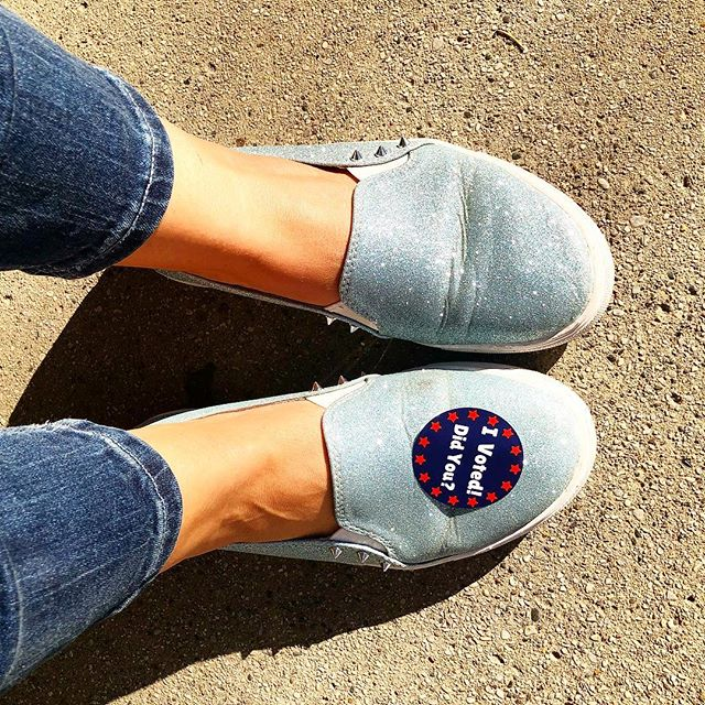 "They may be worn in and extra loved but today they helped make a difference. Get out and cast your vote!!! ✔️🇺🇸 Tag us in your ""I voted"" selfie for 20% off! 💙"